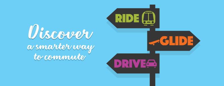"image showing graphics depicting ride, glide, drive.  Text says ""Discover a smarter way to commute"""