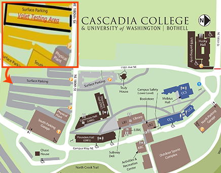 image of map showing valet parking area in upper surface lot on southwest area of campus near Discovery Hall on UWB side of campus