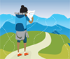 Illustration of Cascadia student on a pathway