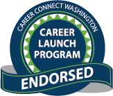 Blue circular seal with green accents with text 'Career Connect Washington' 'Career Launch Program' and 'Endorsed'