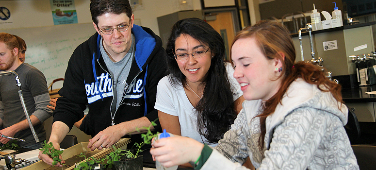 Biology students studying plants in Cascadia lab.