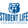 Cascadia Office of Student Life Logo in blue and white with Kody bear image