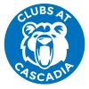 Cascadia Clubs Logo in blue and white with Kody bear image