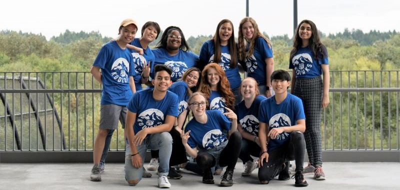 Student Leaders Team Photo 2019-20 outside near North Creek Center overlooking the wetlands